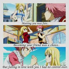 Natsu Dragneel and Lucy Heartfilia (Nalu) from Fairy Tail (I love this pairing! Natsu Fairy Tail, Fairy Tail Ships, Fairy Tail Meme, Fairy Tail Fotos, Natsu E Lucy, Les Gifs, Fairy Tail Guild, A Silent Voice, Levi X Eren