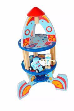 foguete espacial  espaçonave qpack brinquedo de madeira