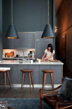 modele de cuisine, modele cuisine ikea, cuisine grise, lustre gris, mur gris