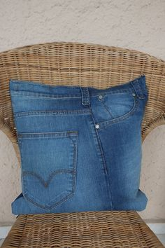 Sofa Pillow Cover with Pockets Recycled Denim Jeans appr by Zembil, $35.00