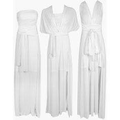 Boohoo Marjorie Multiway Side Split Skirt Maxi Dress | Boohoo ($40) ❤ liked on Polyvore featuring dresses, maxi party dresses, white dress, white party dresses, sequin party dresses and white slip dress