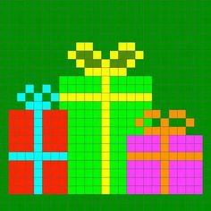 Birthday gifts cross stitch. Xmas Cross Stitch, Cross Stitch Cards, Cross Stitching, Pixel Crochet, Crochet Cross, Cross Stitch Designs, Cross Stitch Patterns, Embroidery Patterns, C2c
