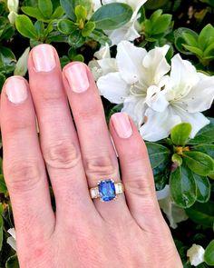 Beautiful Tanzanite with diamonds 3 Stone Diamond Ring, Diamond Bands, Diamond Cuts, Emerald Cut Engagement, Best Engagement Rings, Emerald Cut Diamonds, Princess Cut Diamonds, Statement Earrings, Wedding Rings