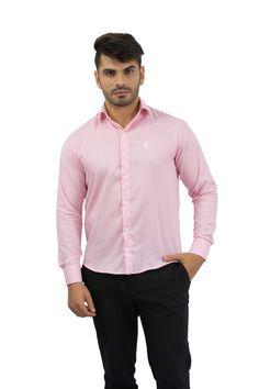 Camisa Social Masculina Rosa Bebê - Rellur Camisaria