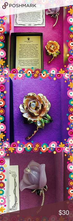 """Set of TWO Rose brooches (RJ Graziano & KJL) Really beautiful rose brooches. RJ Graziano """"England's Rose"""" brooch is a commemorative item where original proceeds went to the Princess Diana fund.   Englands rose is gold tone with pink petals and green leaves.  CZ/gemstone accents.   KJL brooch is a lavender hard plastic rose with Cz/gemstone accents along leaves and stem.  Both brooches have good tone backs. Can be sold separately if interested, please contact me. Kenneth Jay Lane Jewelry…"""