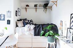 Ikea small bedroom design ideas best storage hacks for small bedrooms ikea small living room decorating Ikea Small Bedroom, Small Bedroom Storage, Small Room Storage Ideas, Ikea Small Apartment, Very Small Bedroom, Narrow Bedroom, Master Bedroom, Bedroom Retreat, Bedroom Bed