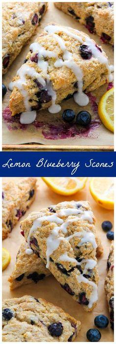 Greek yogurt Lemon Blueberry Scones are topped with a sweet lemon glaze. Simply irresistible!