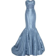 Zac Posen Strapless taffeta fishtail gown (€6.760) ❤ liked on Polyvore featuring dresses, gowns, long dresses, vestidos, women, strapless dresses, blue long dress, zac posen gowns, blue evening dresses and strapless sweetheart dress