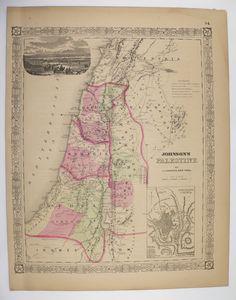 Vintage Map Palestine, Holy Land Map 1867 Johnson Map, Israel, Syria Map, Historical Map, Antique Art Map, Wedding Gift for Couple available from OldMapsandPrints on Etsy #EtsyGifts #Palestine #HolyLandMap