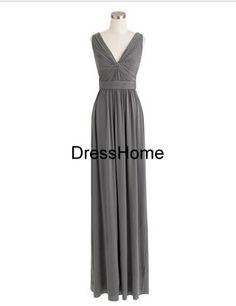 Bridesmaid Dress  Long Vneck bridesmaid Dress / Grey by DressHome, $109.99