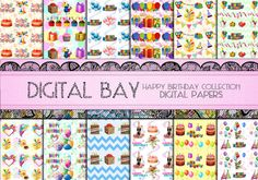 HAPPY BIRTHDAY Digital paper pack  Instant download  by DigitalBay