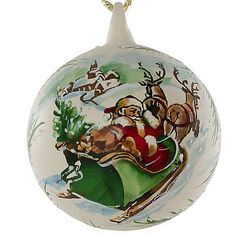 """Merry Christmas"" Glass Hand Painted Christmas Ball. Made in Austria."