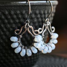 Handmade beaded hoops, white, Czech glass, oxidized copper, wire wrapped earrings, beaded earrings, Mimi Michele Jewelry.