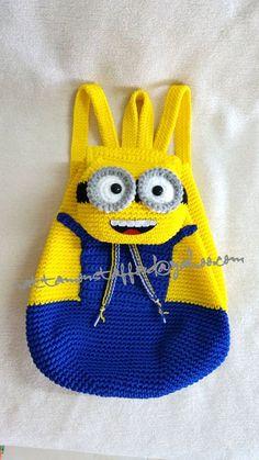 Mochila de Minion, regalo de cumpleaños de mochila de ganchillo hecho a mano, regalo de Navidad, ideal para todas las niñas.