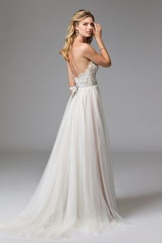 Watters wedding dress style Della. A line wedding dress with sweetheart neckline…