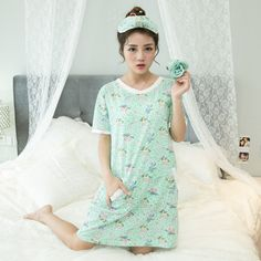 Cotton Nightgown Women Pajamas Sweet Girl Lounge Cute Unicorn Loose Nightdress Pullover Sleeprobe Short Sleeve Casual Nightgown