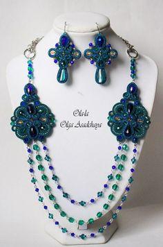 "necklaces to earrings crosses ""Openwork"" soutache, quartz beads, Czech glass… Boho Jewelry, Wedding Jewelry, Jewelery, Jewelry Design, Unique Jewelry, Tatting Necklace, Soutache Necklace, Crochet Necklace, Soutache Tutorial"