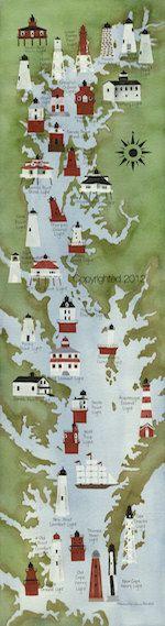 Chesapeake Bay Lighthouses by MichelleVenablesArt on Etsy, $36.00