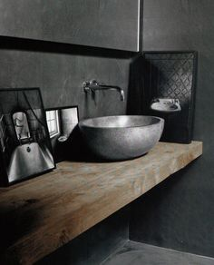 ♅ Dove Gray Home Decor ♅  rustic grey and wood bath