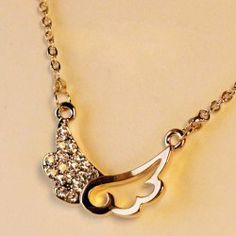 $4.58 Romantic Style Wings Shape Rhinestone Embellished Necklace For Women