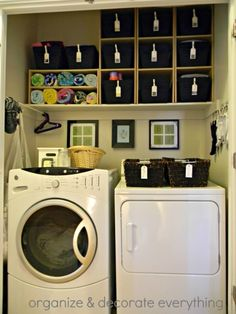 Labeled Canvas Baskets - 30 Brilliant Ways to Organize and Add Storage to Laundry Rooms
