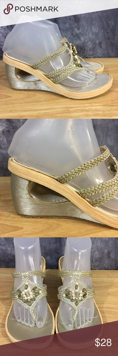 Skechers Novelty Wedge Sandals Size 9 Never Worn Skechers Cali novelty wedge sandals in size 9. These shoes have never been worn, sole is pristine, but the insole shows a bit of wear from storage. He upper is beaded and braided, heel is a covered wedge. Skechers Shoes Sandals