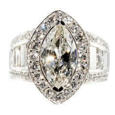 Impressive Marquise  Diamond Ring | From a unique collection of vintage engagement rings at http://www.1stdibs.com/rings/engagement-rings/