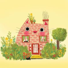We are loving that cozy and cute cat-house by MacKenzie Haley. #cat #house #illustration #tree #bushes #cathouse