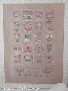 Chart Shabby Spring Calendar  (including inscription in English,  French, and Italian)- Paper or PDF format