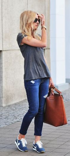 Grey T-shirt, Casual skinny jeans, Fitch, blue and white from Nike, bag from Zara and sunglasses from Mango