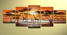 free shipping handmade 5 piece yellow wall art oil painting on canvas African sunset landscape giraffe picture for living room