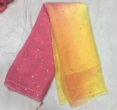 Pure Chiffon Saree with Mirror Work Simple Sarees, Trendy Sarees, Stylish Sarees, Fancy Sarees, Sari Blouse Designs, Fancy Blouse Designs, Dress Designs, Mirror Saree, Indian Silk Sarees