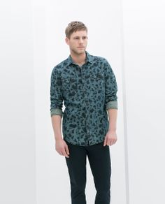 Image 1 of FLORAL PRINT DENIM SHIRT from Zara