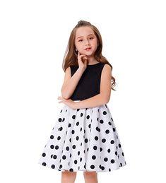 Vestidos Vintage de puntos blanco y negro para niñas. Hermosos y versátiles. Skater Skirt, Midi Skirt, Vestidos Vintage, Skirts, Fashion, Little Girl Fashion, Dresses For Girls, Black And White, Dots
