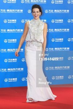 Kate Beckinsale  wearing Elie Saab Couture gown from the Fall 2012 collection | red carpet show for the Qingdao Oriental Movie Metropolis 2013 in Qingdao, China. (Photo by Hong Wu/Getty Images)