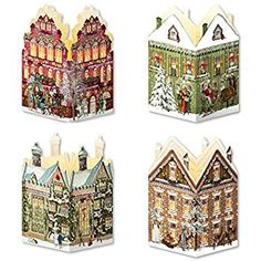 Coppenrath Advent Calendar 'Mini House Lanterns' Pack of 4 with Envelopes