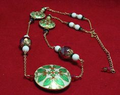 Cloisonne With Crystals Christmas Necklace by NancysCrystalFantasi, $48.00