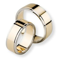 Two Tone 10k White-yellow-white Gold Polish Flat Ladies And Mens Wedding Bands 7mm 02251