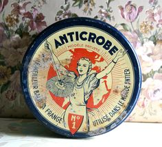 French Vintage Red And Blue Tin