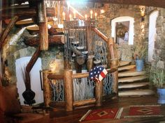 Log stairs with stick handrail