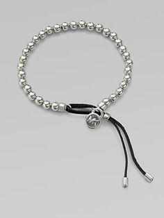 Michael Kors - Leather Accented Beaded Bracelet/Silvertone