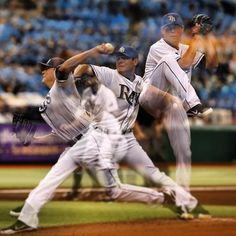 A cool photo sequence image of Tampa Bay Rays pitcher Matt Moore who struck out 9 batters in this game. GO MATT!!!