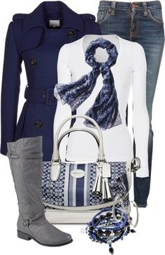 Winter style outfit--love the white, blue, gray...not the jeans though...dark wash instead