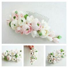 Ranunculus wedding comb, wedding flower comb, rustic wedding, woodland wedding, wedding accessories, natural wedding