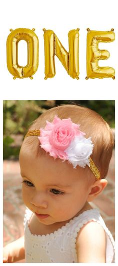 Such an adorable headband for a pink and gold birthday party!