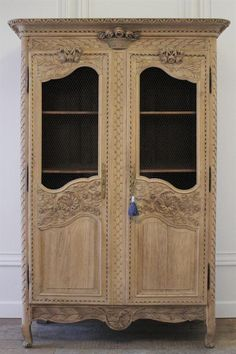 19th century carved French oak armoire by FullBloomCottage on Etsy