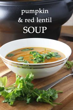 Pumpkin and red lentil soup - so healthy and delicious! Make in the crock pot!