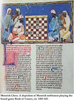 Moorish nobles playing #chess and harp. Page from Book of Games by Alphonso X the Wise, circa 1283.
