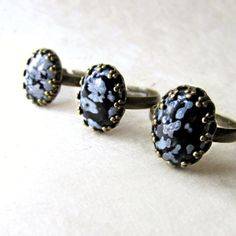New! Snowflake obsidian rings -a calming and empowering stone that happens to be gorgeous.
