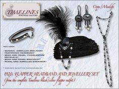 Second Life Marketplace - TVC 1920s Flapper complete jewellery set (black/silver)